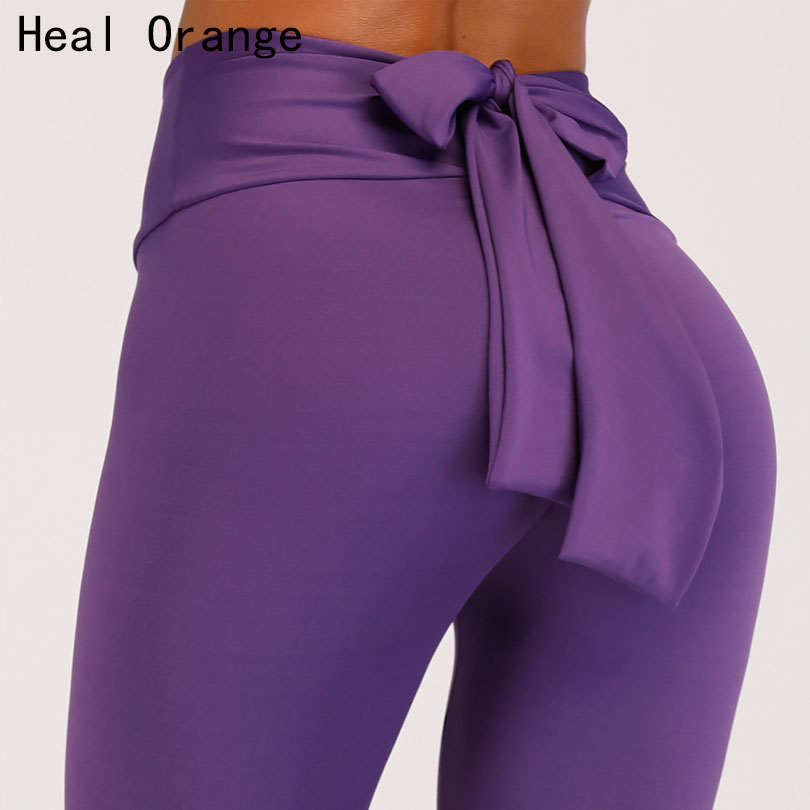 HEAL ORANGE Bow Tie Sport Leggings Sexy Gym Tights For Women Fitness Sportswear Yoga Pants Trousers Athletic Women Active Wear active contrast paneled leggings