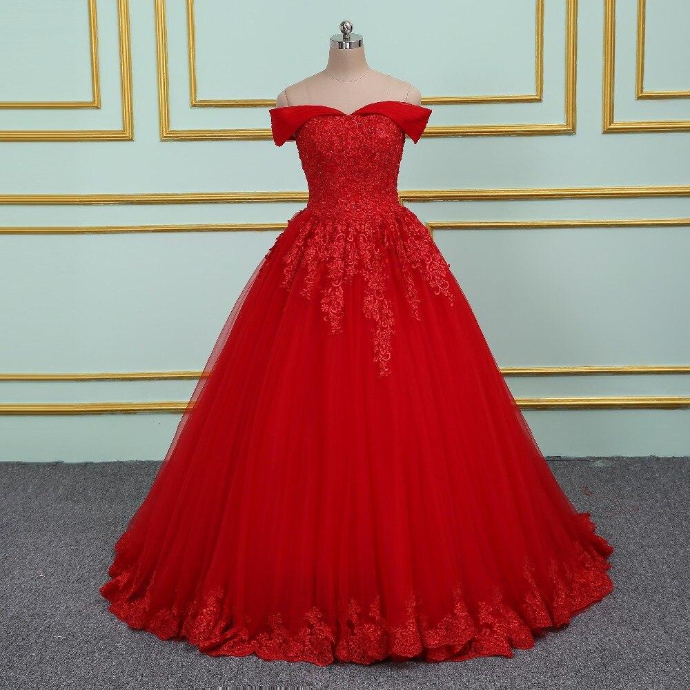 Vinca sunny Elegant Lace Applique Beading Princess Wedding Dresses 2019 Off Shoulder New Model Red Ball