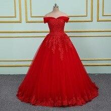 Vinca sunny Elegant Lace Applique Beading Princess Wedding Dresses 2020 Off Shoulder New Model Red Ball Gown Wedding dress