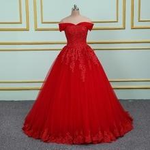 Vinca sunny elegante Aplique de encaje recamado vestidos de Boda de Princesa 2020 de hombro nuevo modelo vestido de boda de bola roja