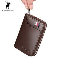 WilliamPOLO 2018 Mens Wallet Accordion Credit Card Holder Genuine Leather Multi Card Case Organizer Coin Purse Short Zip Around