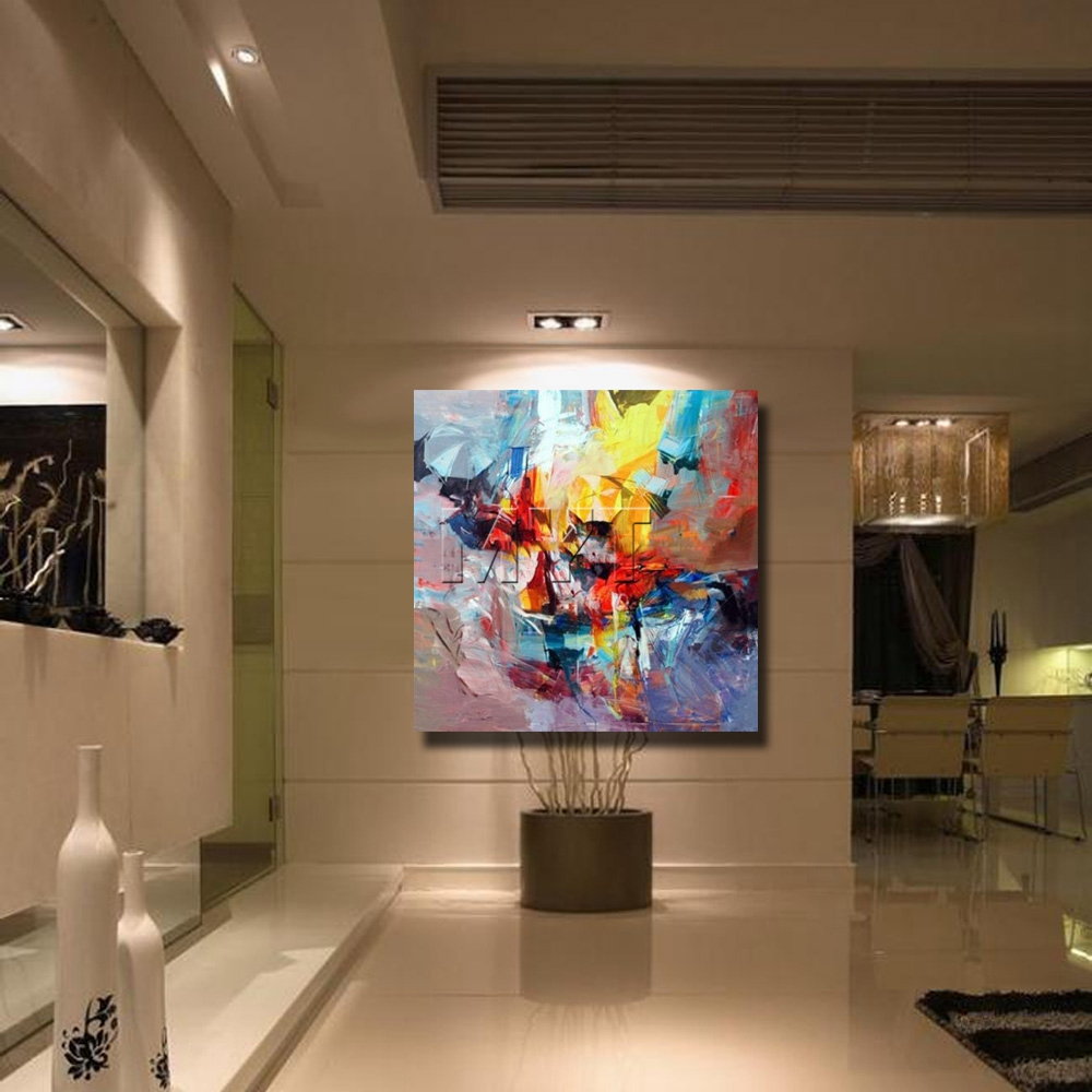Beautiful Oil Paintings On Canvas Modern Abstract Living Room Wall Artwork Pretty Color