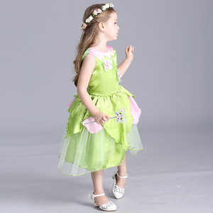 Image 4 - 2018 New Tinkerbell princess Woodland Fairy Dress Cosplay Costume Girls Green Fairy Dress for 3 10Y kids (without wing)
