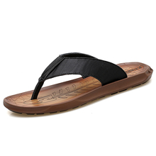 купить Genuine leathe Summer Beach Massage Flip Flops Shoes Men Rubber  Men Sandals Top Quality Male Slipper,Indoor Outdoor Flip-flops дешево