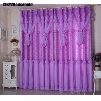 finished 2PCS finished lace small fresh Purple Princess wedding room Curtains for bedroom living room curtain