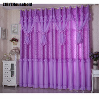 2PCS finished lace small fresh Purple Princess wedding room Curtains for bedroom living room curtain