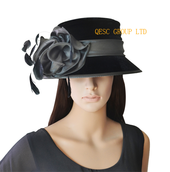 new design velvet dressy church hat with feathers