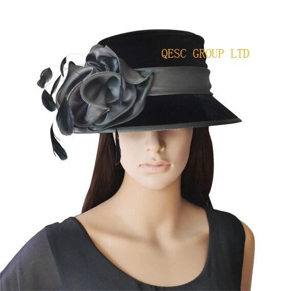 Nuevo diseño damas de terciopelo elegante sombrero de la iglesia con  plumas e966a13caac0