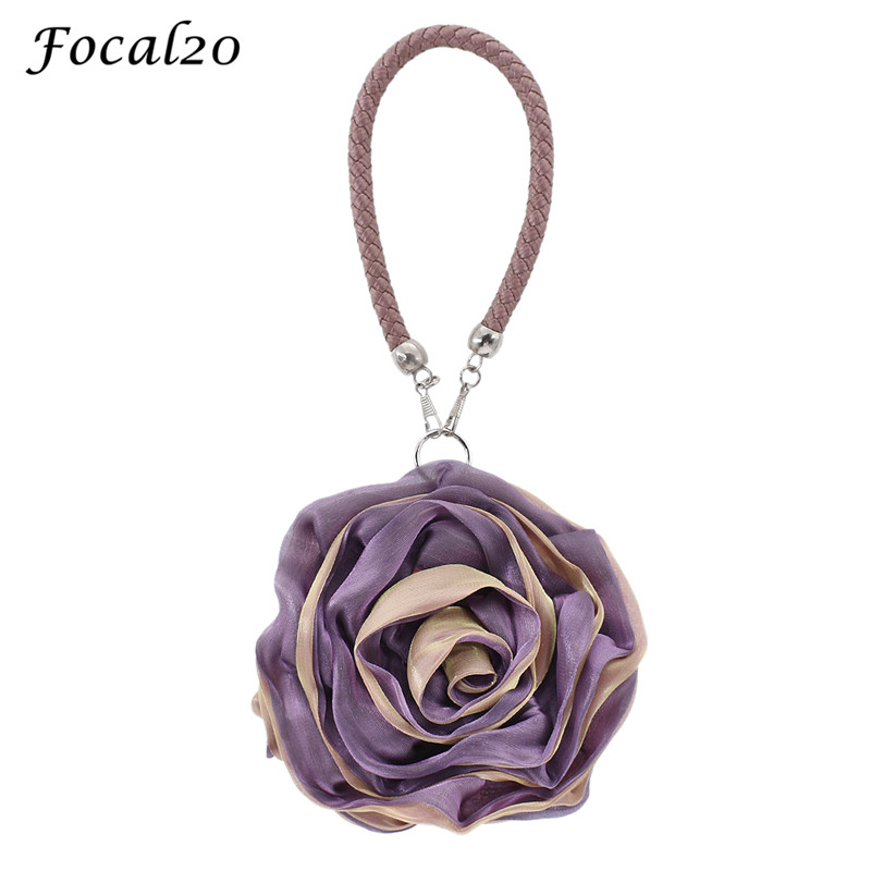 Focal20 Women Silk Rose Floral Soft Women Evening Bag Elegant Female Handbag Hasp Satin Flower Ladies Clutch Bag Bridal Bag