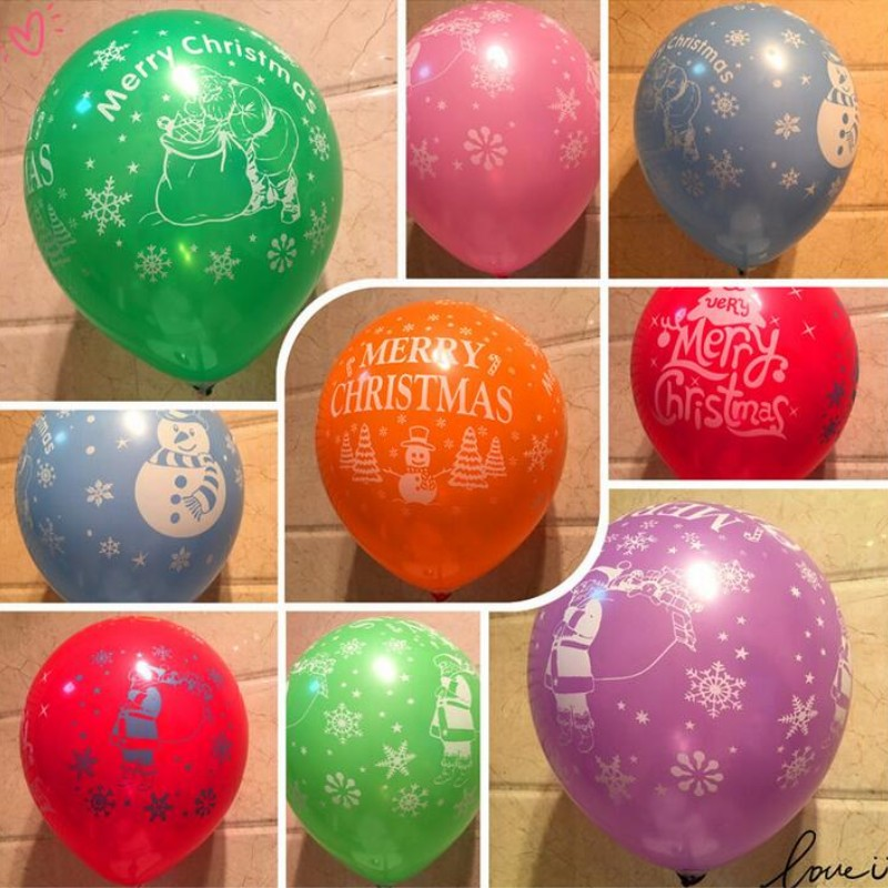 Christmas balloons 50pcs lot12 inch thick round print latex balloon decor new year inflatable air balloon kids toy helium ballon in Ballons Accessories from Home Garden