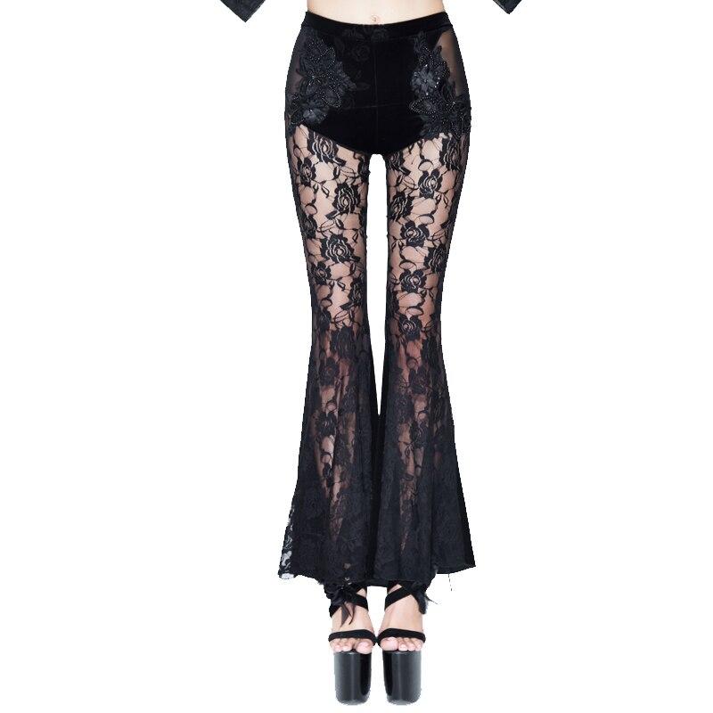 De Lady Ver Black Encaje 2018 Eva Sexy Pantalones A Nuevo Través Long Elástico Gótico Cintura Negro Alta Señora Flare 6XBxqX1S