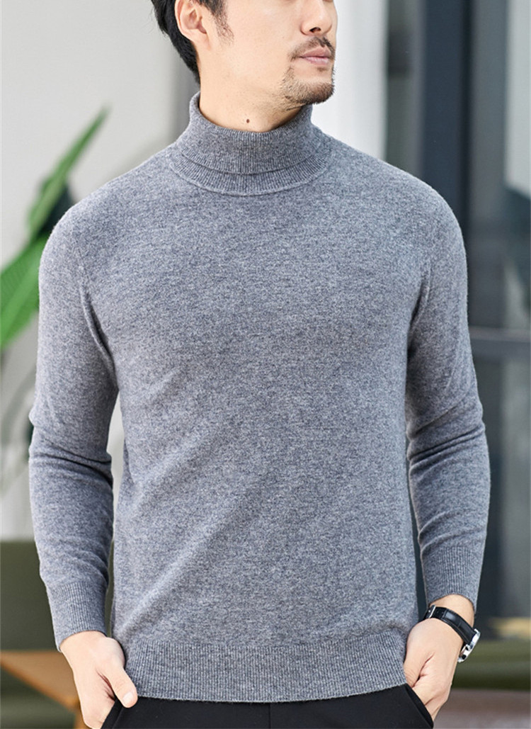 100%cashmere Thick Knit Men Fashion Turtleneck Pullover Sweater Solid Color S-3XL Retail Wholesale