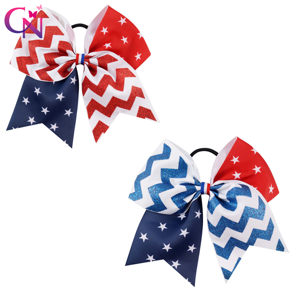 """7/"""" Rainbow Chevron Cheer Bow With Elastic Band For Girls Kids Ribbon Hairgrips"""