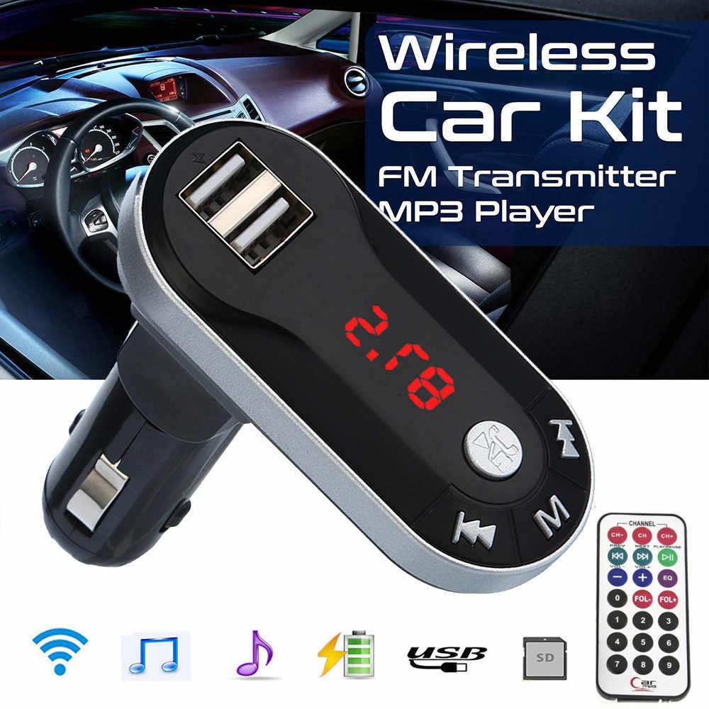Kit manos libres inalámbrico Bluetooth FM Transmisor LCD reproductor MP3 cargador USB 2.1A accesorios para coche manos libres
