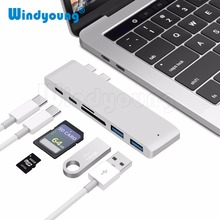 6 IN 1 USB C Hub Type C Hub SD/Micro SD Card Reader Type-C to USB3.0 with USB-C Charger PD for MacBook Pro 13 and 15 2016/2017 usb c hub with sd micro sd card reader for macbook 12 inch