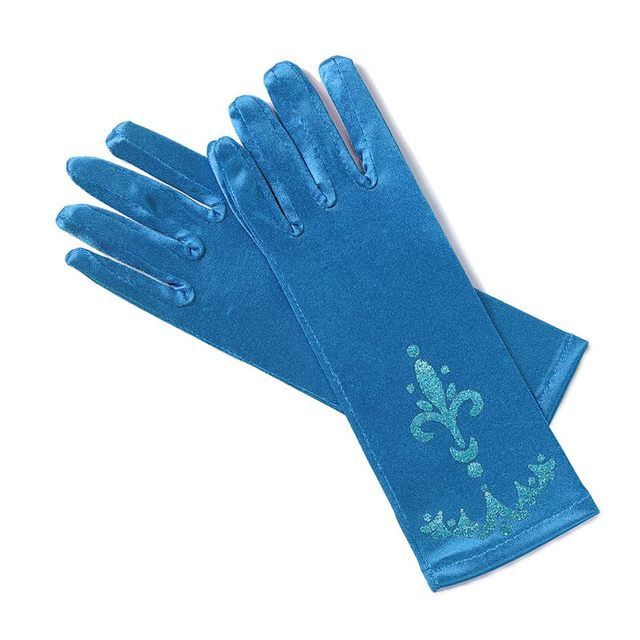 MUABABY Girl Elsa Coronation Gloves 6 colors Brocade Long Finger Gloves 24cm Sequins Printed Cosplay Clothing Girl Party Costume 2