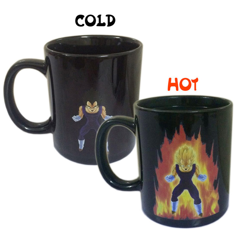 Creative Color Changing Mug Coffee Cup 300ml Dragon Ball Z Vegeta Heat Sensitive Ceramic Drinkware For Milk Tea Juice Coffee Mug