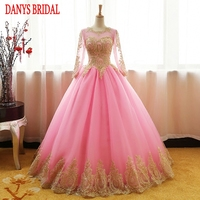Long Sleeve Pink Tulle Quinceanera Dresses 2017 Masquerade Ball Gown Sweet 16 Dresses vestido de 15 anos