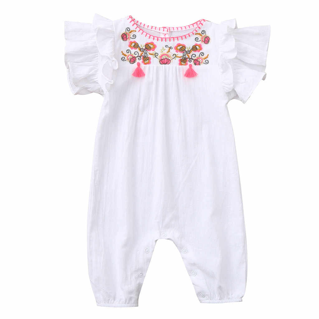 e7ddcf666392e 2019 Rompers Solid Embroidery Floral Romper baby girl clothes Short Sleeve  Pullover new born baby clothes roupa infantil#2