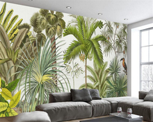 Beibehang Custom Wallpaper European Hand Painted Tropical Rainforest TV Background Wall Living Room Bedroom Mural 3d wallpaper  beibehang southeast asia tropical rainforest leaves background wallpaper living room bedroom tv background mural 3d wallpaper