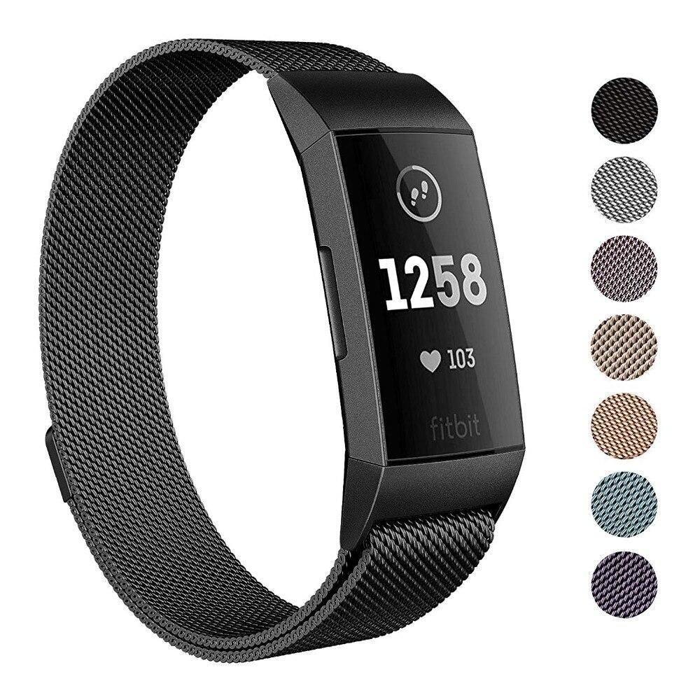 364223ad67c7 Correa de pulsera magnética de acero inoxidable para Fitbit Charge 3  pulseras de repuesto Milanese bandas para carga 3 accesorios de reloj