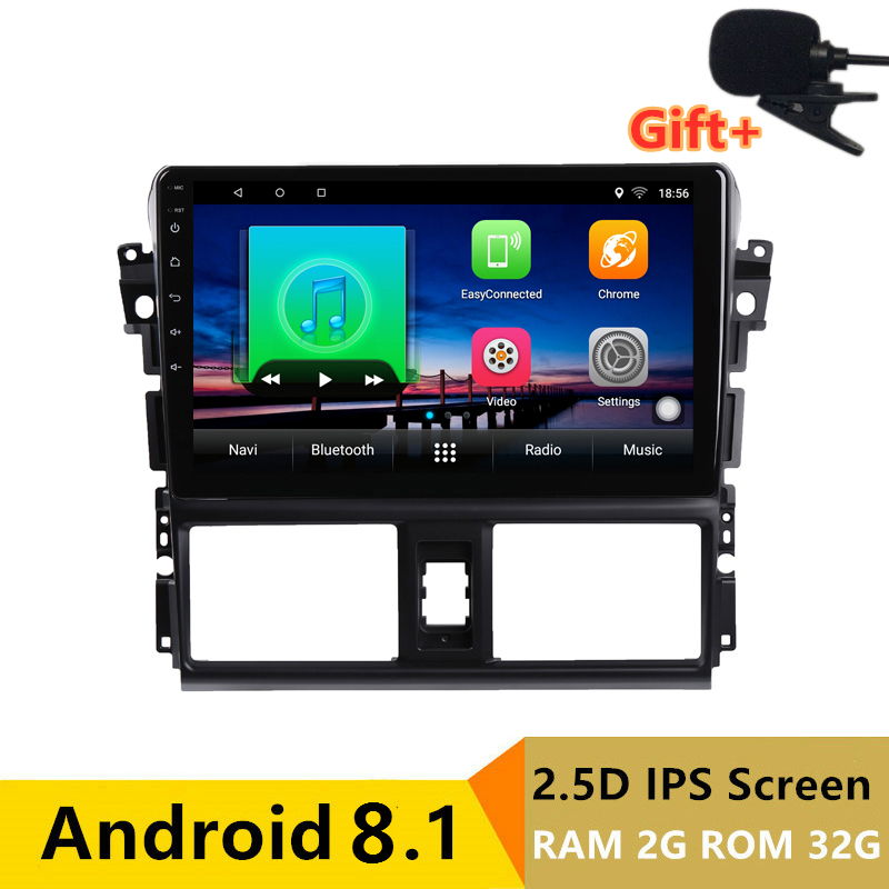 "9"" 2+32G 2.5D IPS Android 8.1 Car DVD Multimedia Player GPS For Toyota Vios YARIS 2014 2015 2016 audio radio stereo navigation"