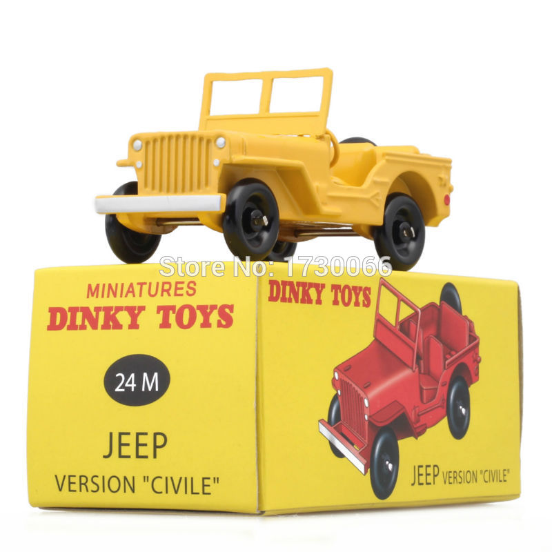 "DINKY Toys Atlas Model Car 1:43 24M JEEP VERSION ""CIVILE"" Yellow Metal Alloy Diecast Car Model & Toys Model for Collection"