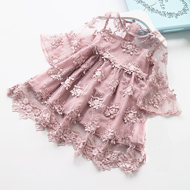 Musim Panas Anak Perempuan Gaun Renda Bunga Putri Gaun Pesta Bayi