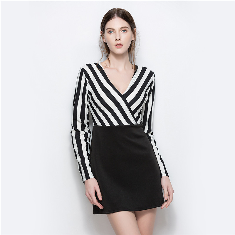 YYFS <font><b>2018</b></font> New <font><b>Sexy</b></font> Women Autumn V-Neck Striped <font><b>dress</b></font> Fashion Summer Black White Striped Casual office <font><b>work</b></font> <font><b>dresses</b></font> vestidos image