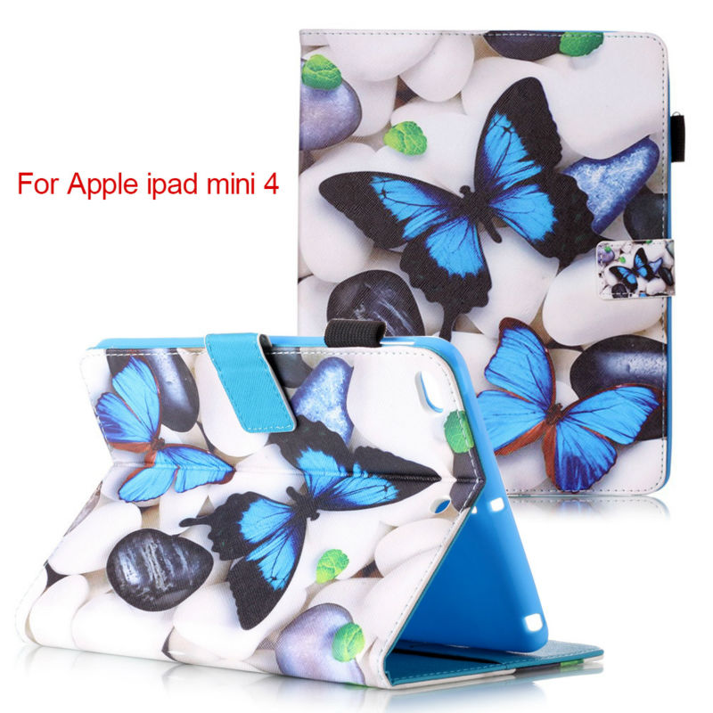 Fashion Magnetic stand PU leather cover case For Apple iPad mini 4 mini4 funda Tablet cases+Screen Protector+stylus pen KF553C magnetic stand flip pu leather case cover for ipad 2 3 4 tablet fundas cases for ipad 4 ipad 3 ipad 2 screen protector stylus