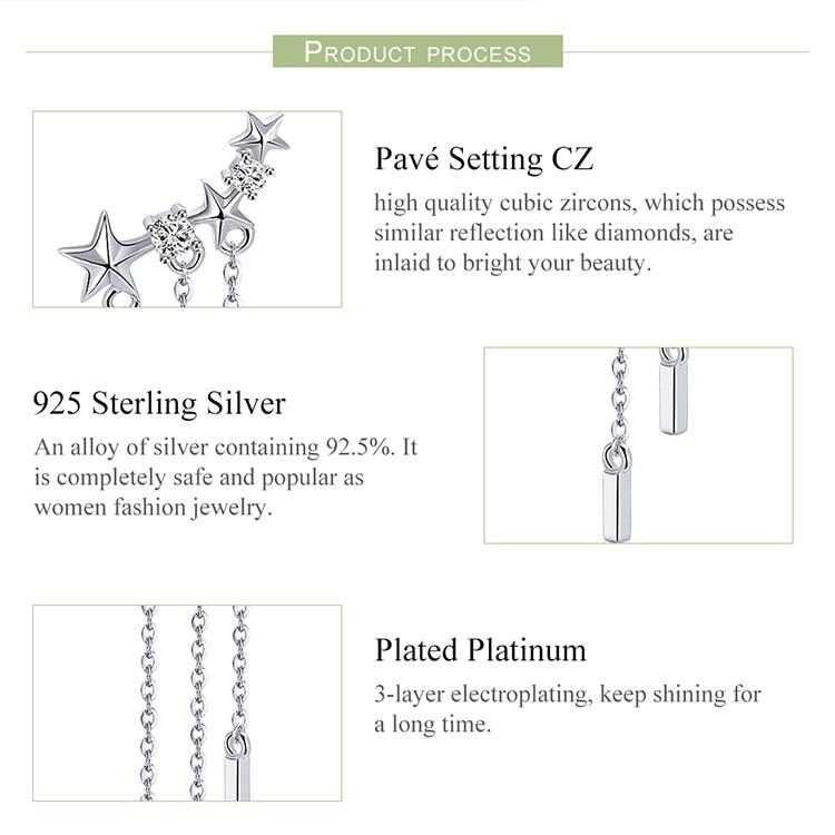 HTB1u9O9XfvsK1RjSspdq6AZepXac BAMOER Genuine 925 Sterling Silver Long Chain Star Dazzling CZ Drop Earrings for Women Fashion Earrings Silver Jewelry SCE399
