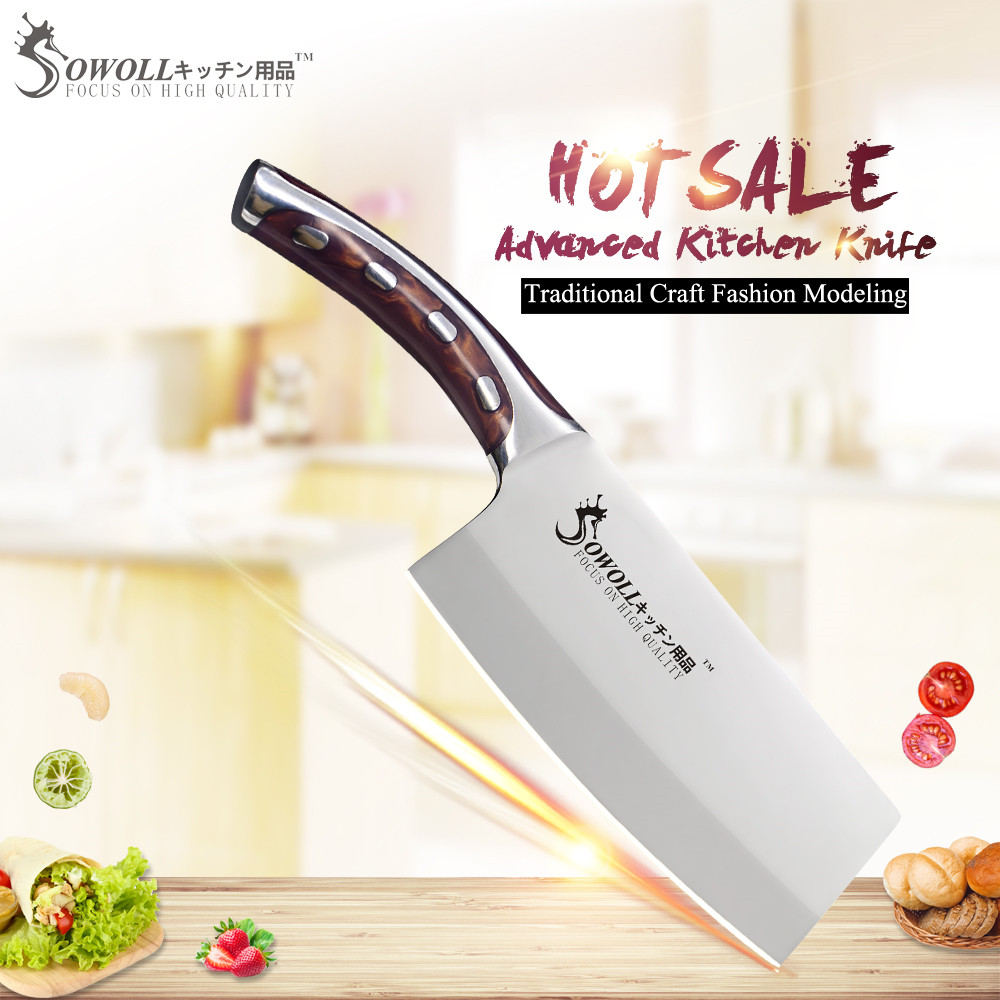 SOWOLL Marke 4cr14mov Edelstahl Küchenmesser 7 zoll Hacken Küche Messer Harz Fibre Griff Cleaver Kochen Zubehör