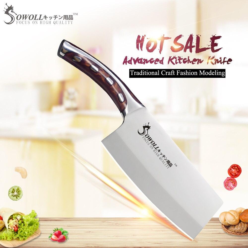 SOWOLL marca 4cr14mov cuchillos de cocina de acero inoxidable 7 pulgadas cortar cuchillo de cocina manija de la fibra de la resina Cleaver cocina Accessorie