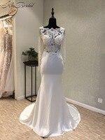 Stunning Beautiful Long Sleeve Wedding Dress High Neck Appliques Backlesss Bride Wedding Gowns Vestido De Noiva