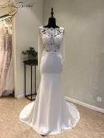 Stunning Beautiful Long Sleeve Wedding Dress High Neck Appliques Backlesss Bride Wedding Gowns Vestido De Noiva