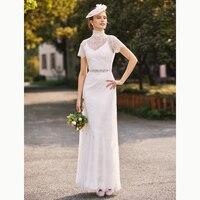 LAN TING BRAUT Mantel Spalte Hochzeit Kleid Zweiteilige Hohe ausschnitt Bodenlangen Charmeuse Spitze Braut Gow mit Perlen Schärpe band