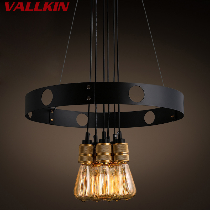 E27 Edison Bulbs Vintage Industrial Loft <font><b>Pendant</b></font> <font><b>Light</b></font> 6 Head Sputnik <font><b>Pendant</b></font> LampAC110V 220V Restaurant <font><b>Bar</b></font> Dining <font><b>Lights</b></font> image