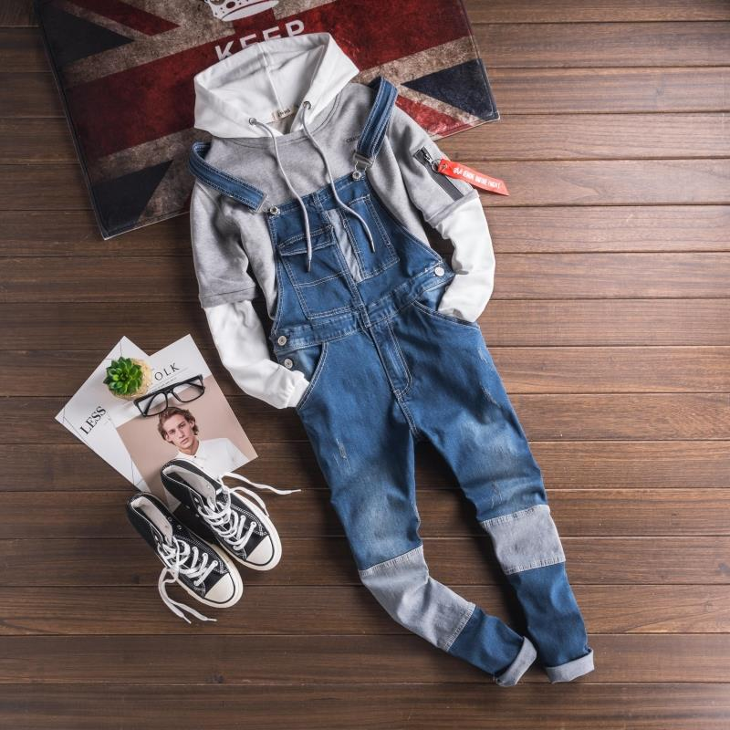 Fashion Style Men\`s Jeans Jumpsuit With Multi-pockets Blue Slim Fit Casual Streetwear Jumpsuit For Male Suspender Size S-3XL (5)