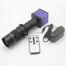 Best price 14MP HDMI USB Industrial Digital Microscope Camera Remote Control TF Card Storage Video For Cellphone Table 10-180X C-mount Lens