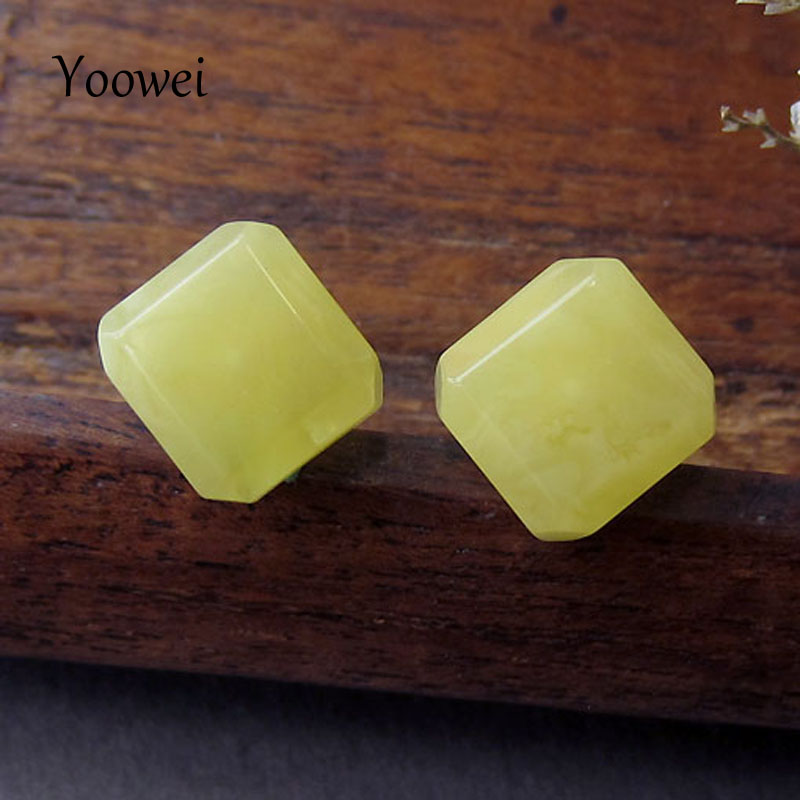 Yoowei Wholesale Baltic Amber Earrings for Female Exquisite Natural Square Stud Earring Beewax Beads 10mm Amber Women Jewelry цена