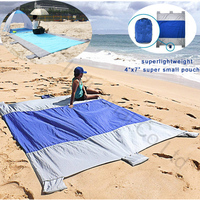 Big Sand Escape Compact Outdoor Camping sand free Beach Mat Nylon Beach Blanket Picnic with Sand Anchors and Valuables Pocket