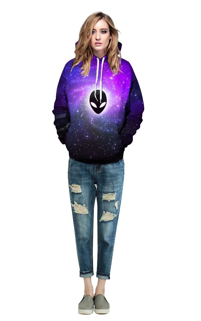 Echoine Men Purple Galaxy Printed Hoodies Alien Pullovers Tops Women Autumn Hooded Hoody Plus Size 2017 Winter Loose Sweatshirts