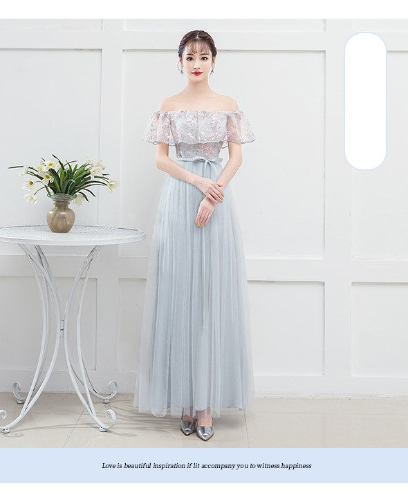Blue Gray Embroidery   Bridesmaid     Dresses   Wedding   Dress