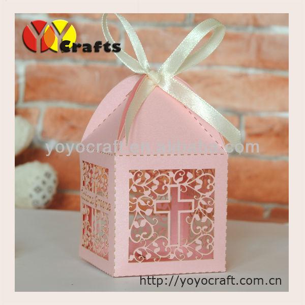 Custom Design Christian Favor Laser Cut Cross Candy Box Wedding Gift