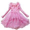 2016 de moda de encaje vestido de niña linda niños de moda partido de los niños ropa encaje y bebé de la flor se visten 2-14y vestidos partido de danza