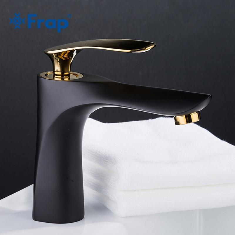 FRAP Black And Golden Color Basin Faucet Basin Mixer Sink Hot and Cold Faucet Deck Assemb