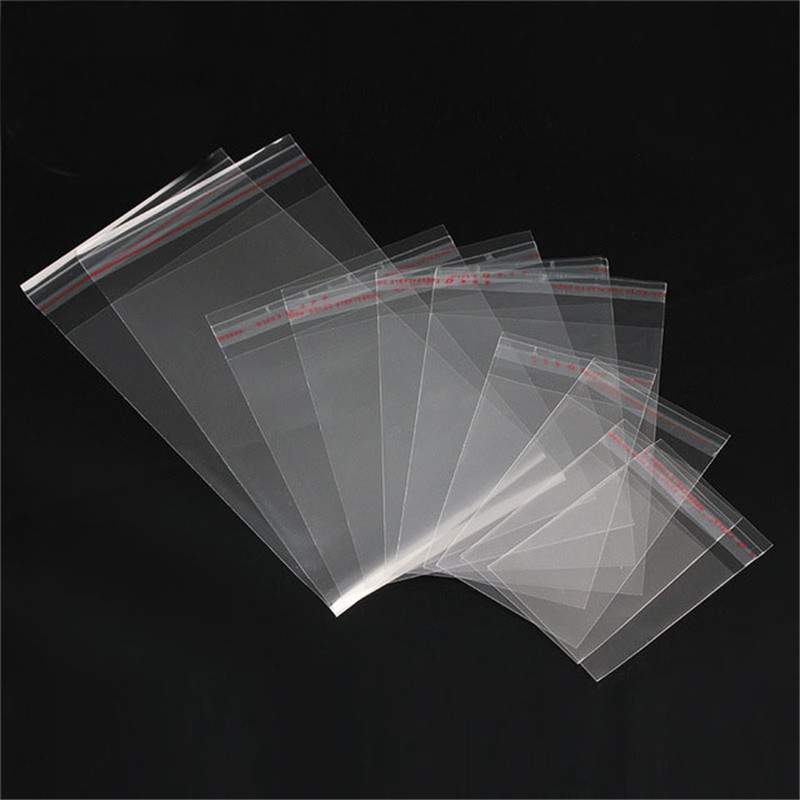 50pcs/lot Clear Transparent Plastic Self Adhesive Opp Bags Size 5*7/6*10/8*12/9*14/11*17cm Opp Bags for Jewelry Bag Packaging 50 pcs crystal clear cello bags 39 5 cm x 45cm self adhesive opp cellophane bags
