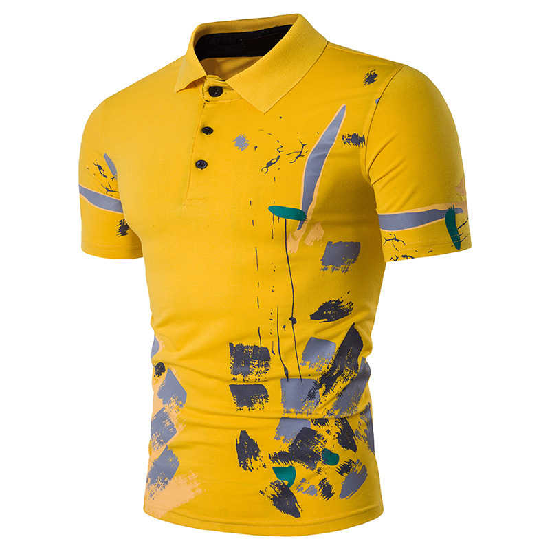2018 New Men's Casual Floral Print Lapel Collar Short-sleeved Polo Shirt Fashion Large size Cotton Slim Polo Shirts For Male