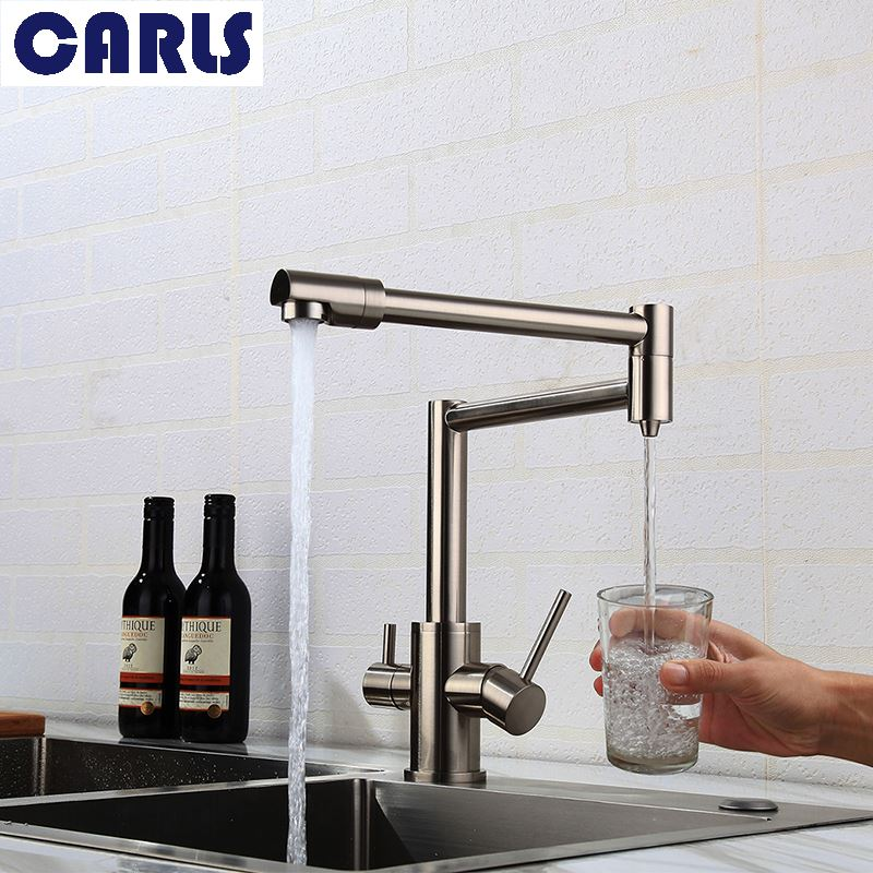 Full copper folding basin cold hot water faucet bathroom washbasin washbasin washing hand pool head rotation expansion