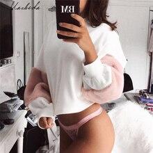 Macheda 2017 Patchwork Long Sleeve Cotton Sweatshirt Women O Neck White Casual Pullovers Puff Sleeve Hoodies Oversize Sweatshirt
